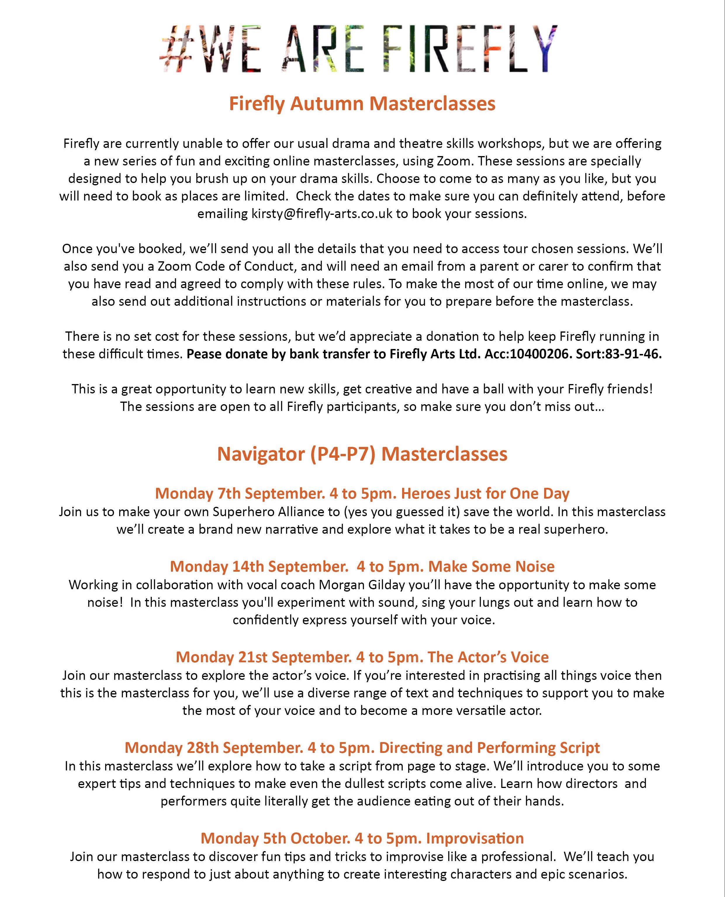 Firefly Sept Masterclasses